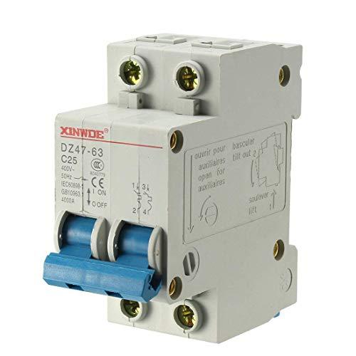 Din Mount Circuit Breaker (ZCHXD 2 Poles 25A 400V Low-voltage Miniature Circuit Breaker Din Rail Mount DZ47-63 C25)