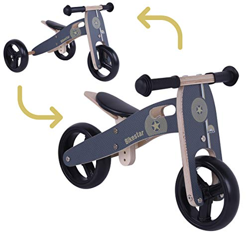 BIKESTAR Mini Kinder Laufrad Holz Lauflernrad mit DREI Rädern für Jungen und Mädchen ab 1 - 1,5 Jahre   2 in 1 Kinderlaufrad   Schwarz   Risikofrei Testen