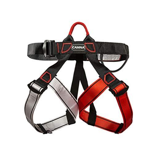 LIOOBO Klettergurt Klettergurt Schutz Sicherheitsgurt Halbkörper Sicherheitsgurt für Baum Klettern Bergfeuerrettung (schwarz rot grau)