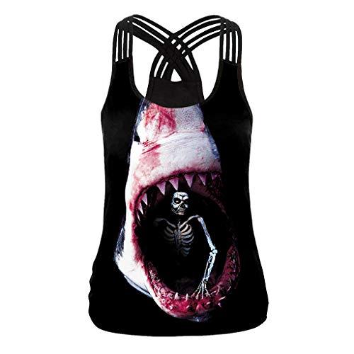 Kostüm Night Terror - RUZHENG-Halloween Night-3D Shark-Digital Print-Vest-Terror Print-Sleeveless Bottoming Shirt-Funny Pattern-Excellent Gift