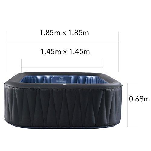 Whirlpool MSpa aufblasbar für 6 Personen SPA 185x185cm In-Outdoor Pool 132 Massagedüsen Timer Heizung Aufblasfunktion per Knopfdruck TÜV geprüft Bubble Spa Wellness Massage - 2