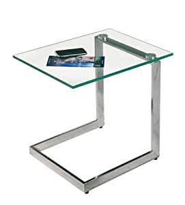 interlink electronics interlink yolanda transparent side table tempered glass top chrome amazon. Black Bedroom Furniture Sets. Home Design Ideas