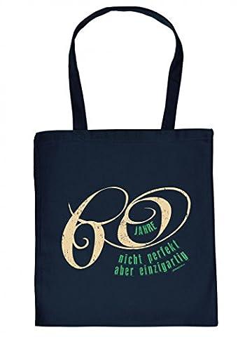 Lustig bedruckte Stofftasche - 60 Jahre - Nicht toll aber einzigartig - Coole Baumwolltasche Kult Umhängetasche Tragetasche Stoffbeutel Geschenk Geburtstag Jahrgang
