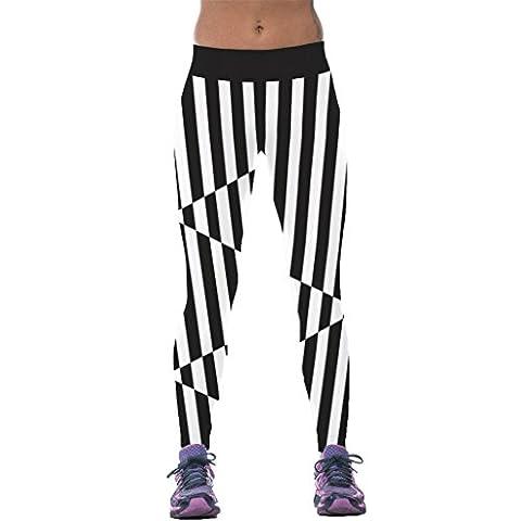 Visuelle Vertikale Schwarz Weißen Streifen Strumpfhose Illusion Gemeinsame Leggins Für Frauen