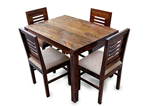 Custom Decor Sheesham Wood 4 Seater Dining Table Set with Chairs for Living Room (Honey Teak Brown)