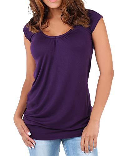 KRISP Mujer Camiseta Larga Básica Manga Corta 7604-PUR-20