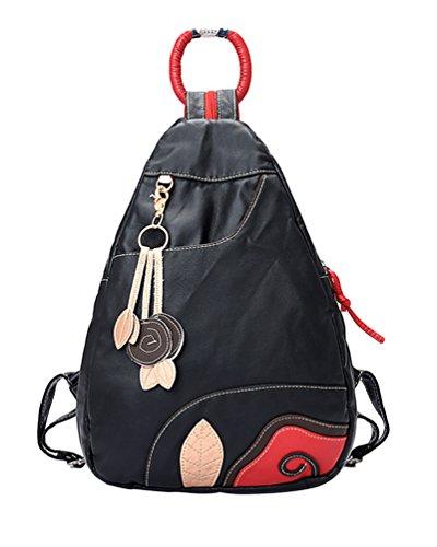 Imagen de chengyang mujeres estudiante casual bolso de escuela moda pu cuero  bolsas de viaje negro
