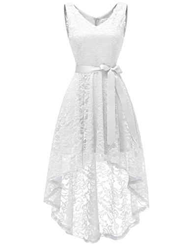 Berylove BLP7018 Damen Cocktailkleid Spitzen V Ausschnitt Ärmellos Elegant Hi-Lo Partykleider Weiß...