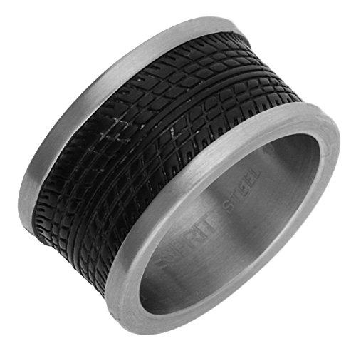Esprit Herren Fingerring Edelstahl Silber/Schwarz Tire ESRG11465A, Ringgroesse:60 (19.1)