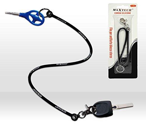 Portachiavi per bloccasterzo, antifurto, chiavi auto in silicone con moschettone e gancio FI-BL001. MWS