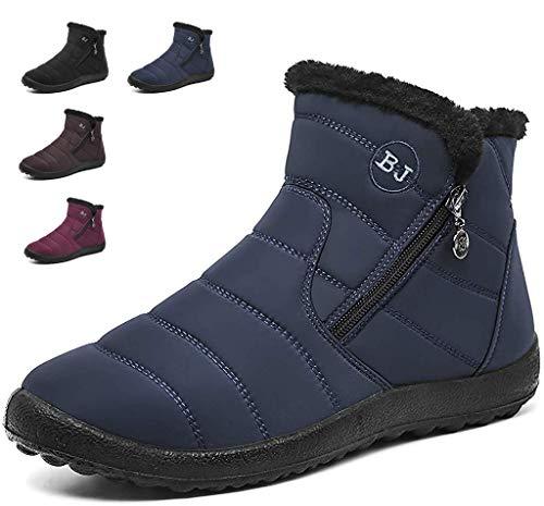 Hishoes Winterstiefel Damen Warm Gefüttert Wasserdicht Winterschuhe Boots Kurzschaft Stiefel Stiefeletten für Damen Winter Flach Schuhe, Blau, EU 36 / CN 37