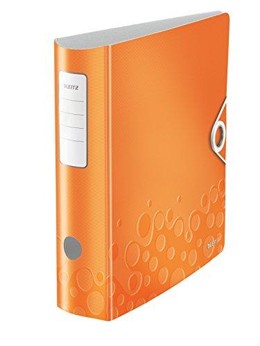 Leitz Multifunktions-Ordner, Orange Metallic, A4, Runder Rücken (8,2 cm Breite), Gummibandverschluss, Kunststoff, WOW, 11070044