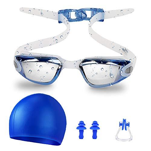 Zorara Kinder Schwimmbrille, Schwimmbrille für Kinder Lecksicher Schwimmen Brillen mit Nasenclip, Ohrstöpsel, Badekappe für Jungen Mädchen 4-12 Jahre, Anti-Fog & UV Schutz & Schnell zu verstellen