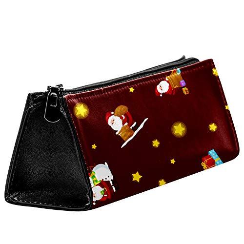 EZIOLY Merry Christmas Santa Claus in Hut mit Geschenken Stiftebeutel Schreibwaren Beutel Bleistifttasche Kosmetiktasche Tasche Kompakt Reißverschluss Tasche