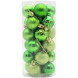 cadillaps Albero di Natale Gioielli 24pezzi decorazione natalizia Ball palline di Natale, Plastica, verde, 4cm