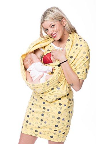 GoFutureWithLove - Robe spécial grossesse - Manches Courtes - Femme Gelb mit marine Pusteblume plus Weiß