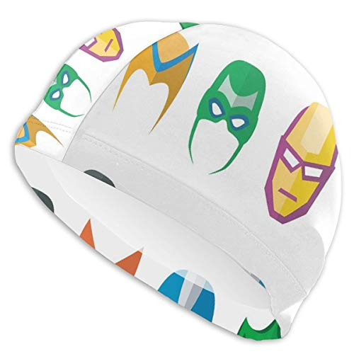 astic Swimming Hat Diving Caps,Hero Mask Female Male Costume Power Justice People Fashion Icons Kids Display,for Men Women Youths ()