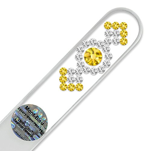 Lime à ongle en verre ornées à la main de cristaux de Swarovski Elements, pochette en velours noir | Véritable verre trempé tchèque, garantie à vie, Lime à ongles fait main en cristal
