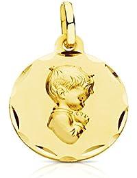Medalla Niño rezando tallada 18 Ktes 16 mm. Grabado gratuito, personalizado.