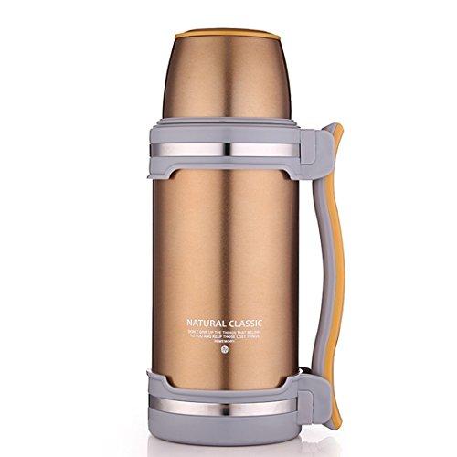 oneisall 2litros Grandes Termo de Acero Inoxidable con asa, Ideal para Agua fría y Caliente líquidos, qgybl074, Dorado
