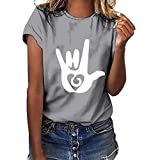 Berimaterry  VêTements pour Femmes Grande Taille Geste d'amour T-Shirt Manches Courtes Top La Mode Femme Manche Courte Les Loisirs T-Shirt Personnalité