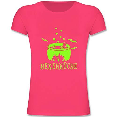 Kleine Köche & Bäcker - Hexenküche - 140 (9-11 Jahre) - Fuchsia - F131K - Mädchen Kinder T-Shirt (Coole Halloween-kostüm Ideen Wirklich)