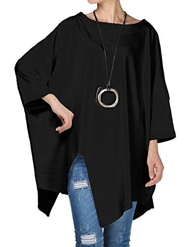 Vogstyle Damen Rundhals Unifarben 3/4 Arm Asymmetrische Plus Size Bluse Pullover Tunika T-Shirt Black M -