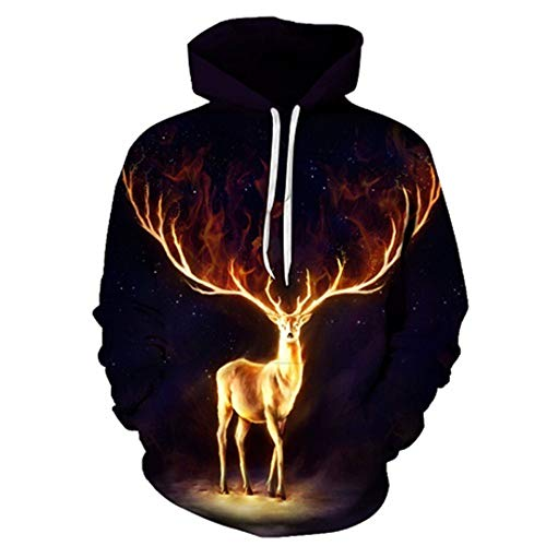 Deer Schwarz Hoodies 3D Printed Sweatshirts Männer Frauen Trainingsanzüge Boy Pullover Fashion Outwear TT030 L (Michael Myers Kid Clown Kostüm)