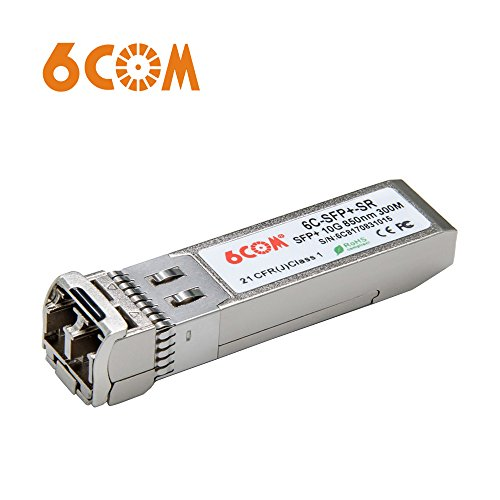 6COM für Intel E10GSFPSR, 10Gb/s SFP+ Transceiver, 10GBASE-SR, MMF, 850nm, 300m - Hot Pluggable Single