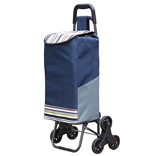Räder Einfach Warenkorb (ZGL Laufkatze Mode Warenkorb Klettern Treppen Hand Auto Tragbare Faltbare Stoffbeutel Kleine Anhänger Gepäck Reise Pull Rod Auto Handwagen ( Farbe : Navy blue stripes ))