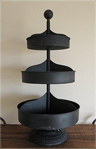 Unbekannt Große Etagere aus Metall Schwarz Shabby H60cm