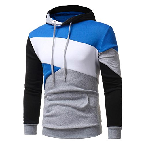 Kaiki Mens 'Long Sleeve Patchwork Hoodie Sweatshirt Tops Jacke Mantel Outwear Kapuze Gray