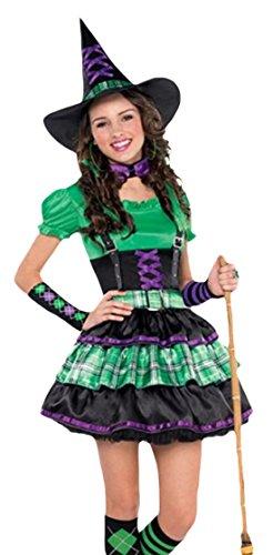 erdbeerloft - Mädchen Karneval Halloween Kostüm Hexe , Mehrfarbig, Größe 140-152, 10-12 (Thriller Kostüm Amazon)