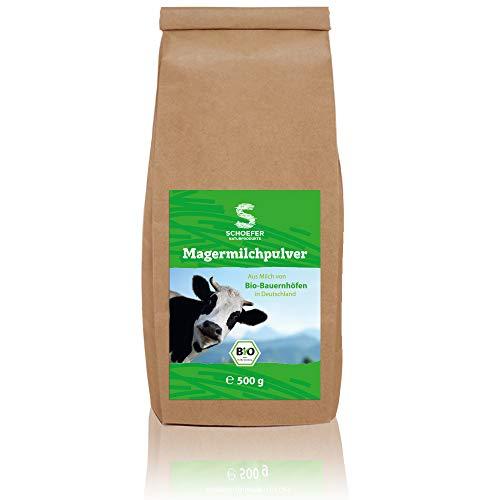 Schoefer Naturprodukte Bio Magermilchpulver / fettarmes Milchpulver für Joghurt, Smoothies / Magermilch zum Backen / Getränkepulver Bio als Kaffeeweißer / 500g
