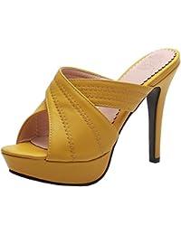Easemax Femme Sexy Talon Aiguille Peep Toe High Heel Soirée Mules c87dd20c577b