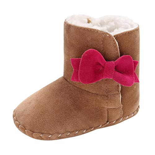 (YIBLBOX Baby Soft Sole Bow Anti-Slip Mid Calf Snow Boots Warm Winter Infant Prewalker Toddler Booties)