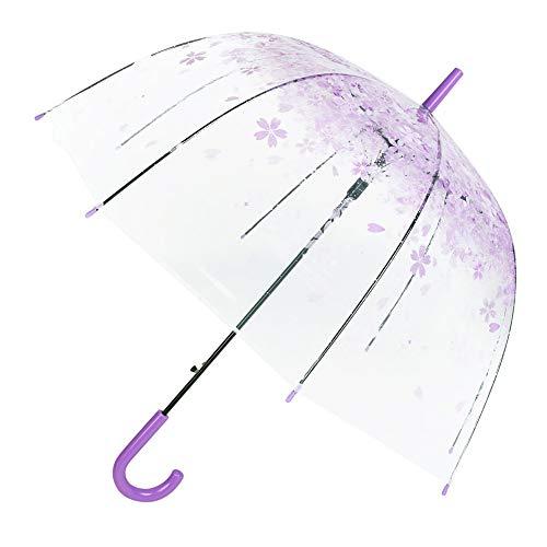 Hi-Smile Transparenter Sakura-Regenschirm, klarer Bubble-Dome-Vogelkäfig-Stock-Regenschirm, Faltbarer, halbautomatischer Regenschirm (lila)