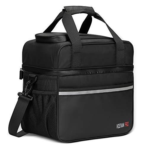 Veevanpro Kühltasche Waterproof Lunchtasche Familie Picknicktasche Isolierte Kühl Tasche Cooler Bag für Reisen Camping Wandern Beach 20L 24 Dosen Schwarz