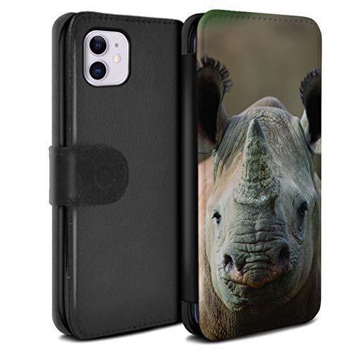 Hülle Für Apple iPhone 11 Wilde Tiere Nashorn Design PU Leder Tasche Brieftasche Schutz Handyhülle Flip Case