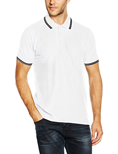 Fruit Of The Loom Men's Polo  Tipped Short Sleeve T-Shirt