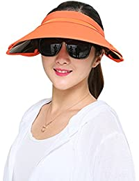 758571d98bd Butterme Womens Summer Topless Wide Large Brim Visor Sun Hat UV Sun  Protection Cap with Retractable Visor for…