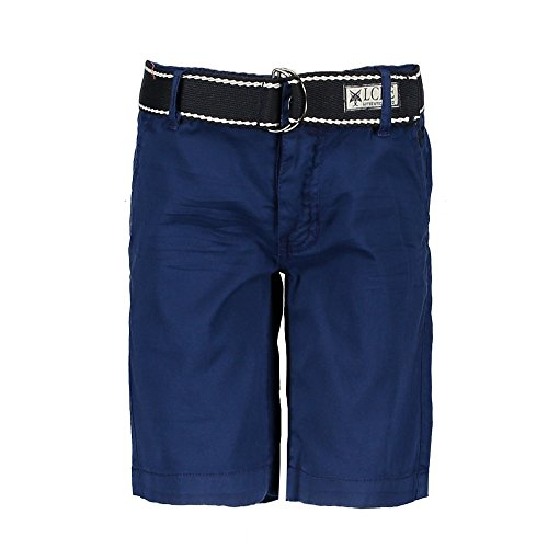 LCEE Boys Jungen Short kurze Hose Bermuda Gürtel estate blue (140) (Blue Navy Shorts Boys)