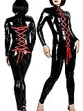 CWZJ Women Es Sexy Nachtclub Patent Leder Langärmelige Krawatte Rote Lack Leder Kombination Bar Performance Clothing DS Pole Dance Kleidung Schwarz