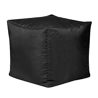 Bean Bag Bazaar 38cm x 38cm, Cube Bean Bag Stool - Indoor and Outdoor Use - Water Resistant, Weather Proof Bean Bags (2, Black)