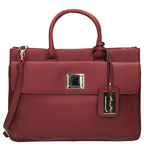 SwankySwans - Elle Pu Leather Business, Borsa per portatile Donna Burgundy