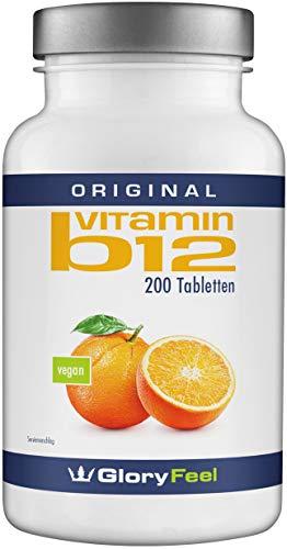 Vitamin B12 1000µg VERGLEICHSSIEGER 2019* - 200 Vegane Lutschtabletten - B12 trägt zur Verringerung von Müdigkeit bei - Laborgeprüft ohne unerwünschte Zusätze hergestellt in Deutschland