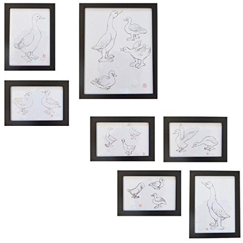 Giftgarden® Cornici per Quadri in Legno Anatra Quadri della Parete Set da 7