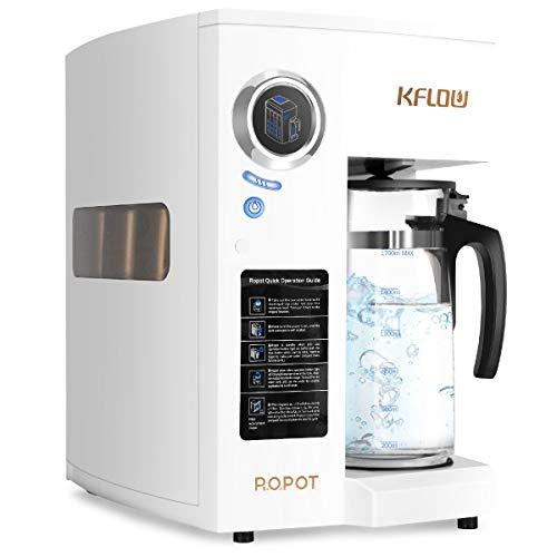 KFLOW Auftisch Wasserfilter, Null-Installations-Wasser Filter für Trinkwasser mit Umkehrosmoseanlage, 4-Stufen Alkalischer Mobil Umkehrosmos Trinkwasserfilter mit Patentiertem Wassertank