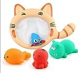 Newin Star 1 Set Baby Bath Toy Bambini Nuoto Bambole Vasca da Bagno Playset Wash Play Giocattoli educativi Cartoon (4 Animali)