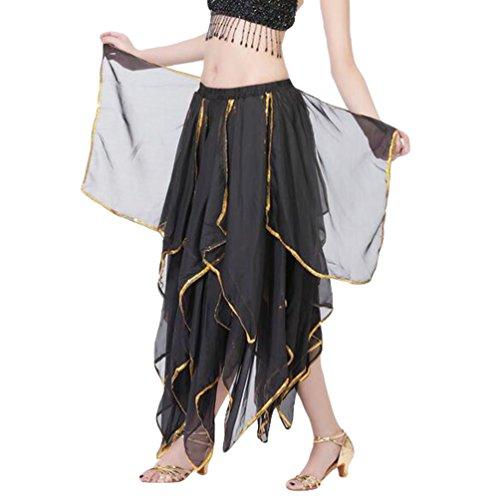 YuanDian Frauen Chiffon Bauchtanz Swing Long Öffnungs Doppelschichten Rock Professionelle Moderne Tanz Performance Kleid Schwarz